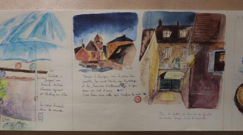 Les aquarelles sont accompagnées d'anecdotes ou de commentaires de l'artiste.