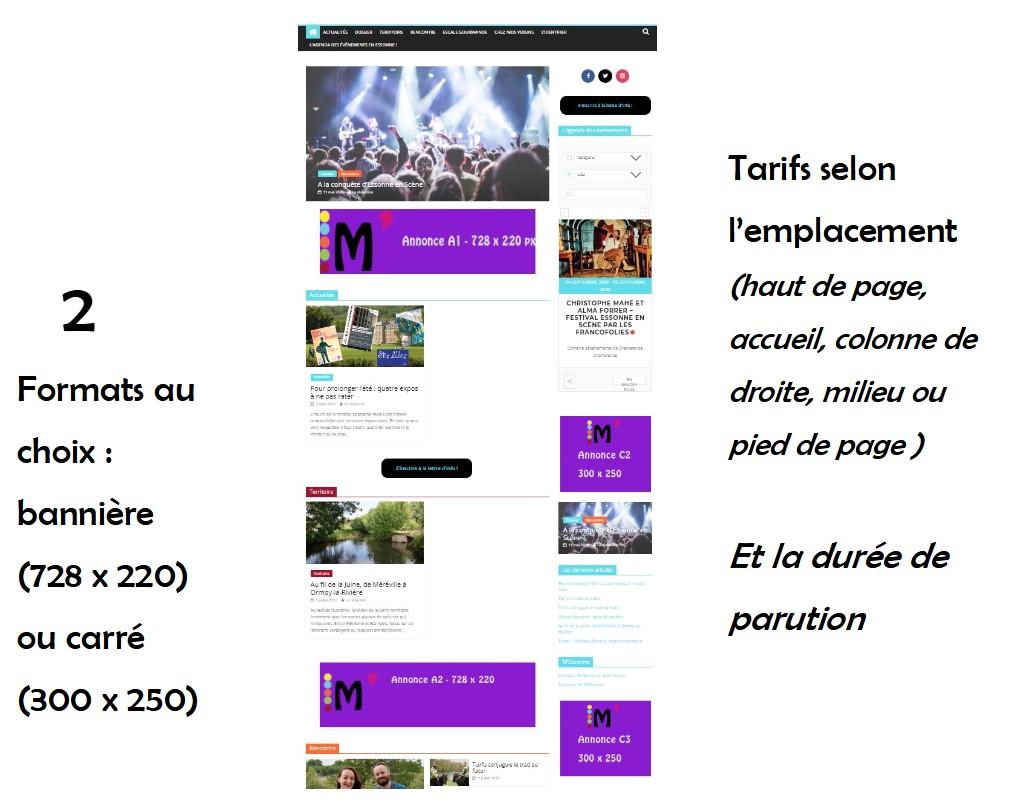 Exemples d'emplacements de publicité dans M'Essonne