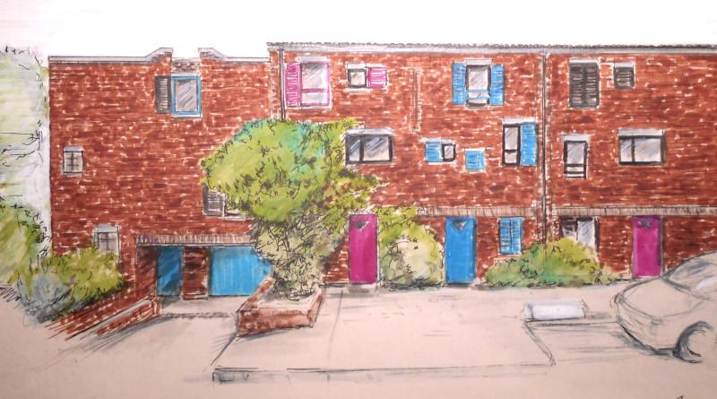 Les maisons terrasses du quartier des Epinettes à Evry-Courcouronnes, par Jean-Pierre.