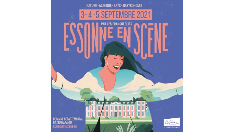 Affiche du festival Essonne en scène 2021 avec Vianney, Jean-Lousi Aubert, Suzanne et Claudio capéo.