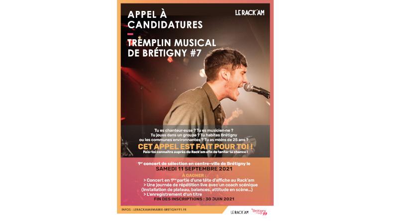 Affiche du tremplin musical de Brétigny-sur-Orge 2021.