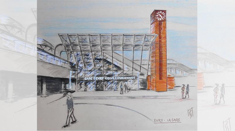 La gare d'Evry par Jean-Pierre, membre des Urban sketchers Évry Essonne.