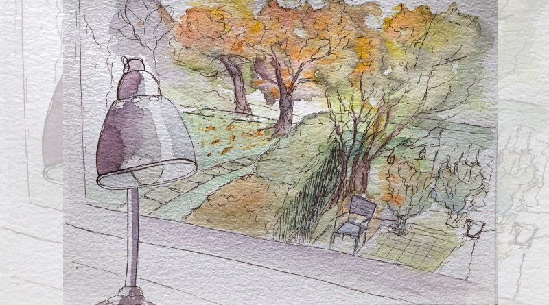 """En novembre, Béatrice peignait cette """"vue confinée"""" depuis sa fenêtre."""
