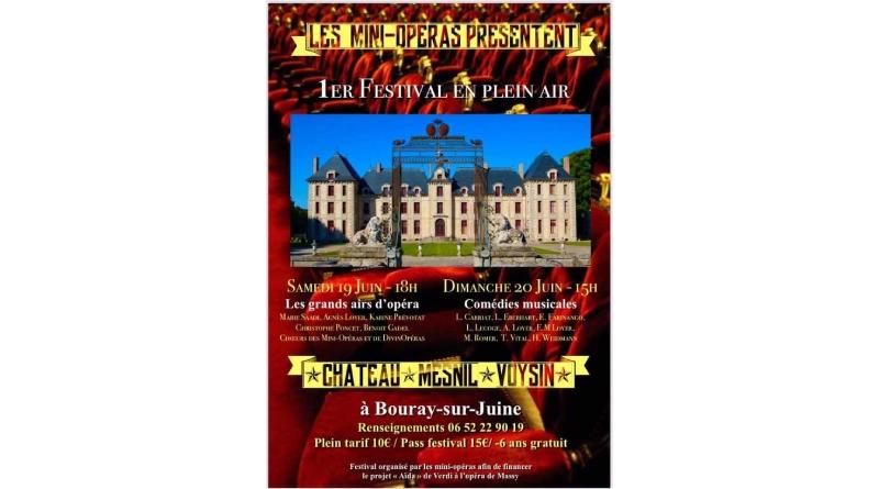 Affiche du 1er festival en plein air au château de Mesnil-Voysin (Bouray-sur-Juine 91) par l'association Les mini-opéras.